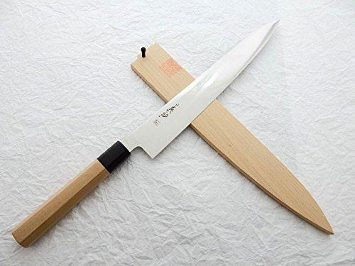 Yoshihiro VG-1 StainlessSteel, WGB Sujibiki Slicer/WA Sujibiki(Japanese Style) 270mm/10.6'' with Wooden Saya Cover & Saya Pin by Yoshihiro