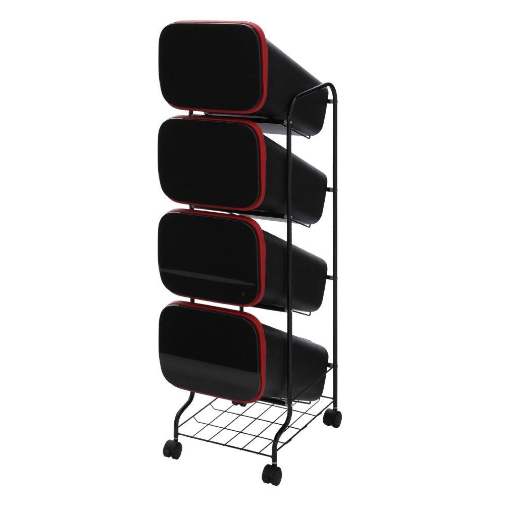 ダストボックス 分別 4段 ふた付き キャスター ストッカー スリム 縦型 ゴミ箱 省スペース 棚付き ブラック B0792RYQWL 4段 ブラック ブラック 4段