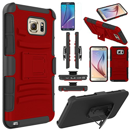 Note 5 Case, EC™ Hard Shock-Resistant Heavy Duty Armor Holster Protective Case Cover with Belt Swivel Clip + Kickstand for Samsung Galaxy Note 5 (Red/Black)