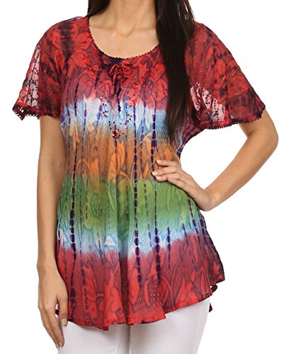 (Sakkas 14783 - Dina Relaxed Fit Sequin Tie Dye Embroidery Cap Sleeves Blouse/Top - Coral - OS )