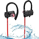 Waterpoof Bluetooth Headphones - Sport Wireless Earphones w/Mic IPX6 Waterproof HD Stereo Sweatproof In Ear Earbuds for Gym Running Workout 8 Hour Battery Noise Cancelling Headsets