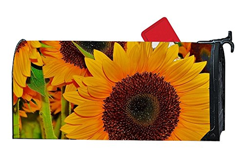 MAILL Nature Photography Orange Tinted Sunflowers Travel Welcome Spring Magnetic Mailbox Cover Floral Puppy 6.5x19 inches by MAILL