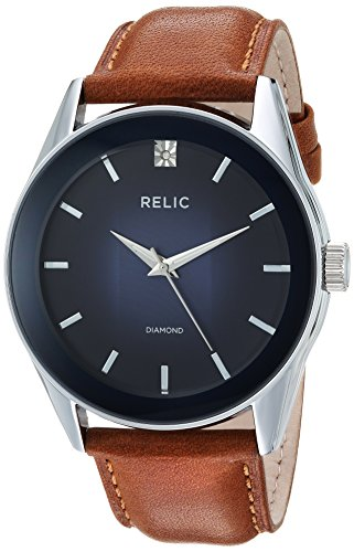 Relic by Fossil Men's Rylan Stainless Steel Quartz Watch with Leather Strap, Brown, 24: ((Model: ()