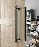 DIYHD 14'' Steel Rustic Black Barn Door Handle and Pull Wood Two-Side Flat Bar