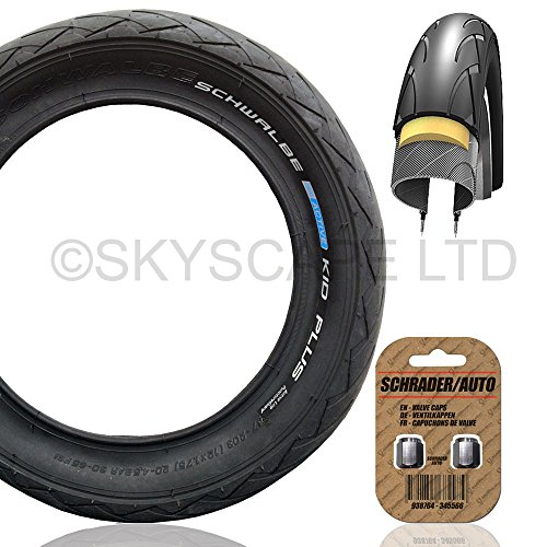 Puncture Protected ''Kid Plus'' Stroller / Push Chair / Buggy / Jogger Tire - 12 1/2'' x 1.75 (Black) Super Grippy & Fast Rolling + FREE Shipping + FREE Upgraded Skyscape Metal Valve Caps (Worth $4.99) by Schwalbe & Skyscape