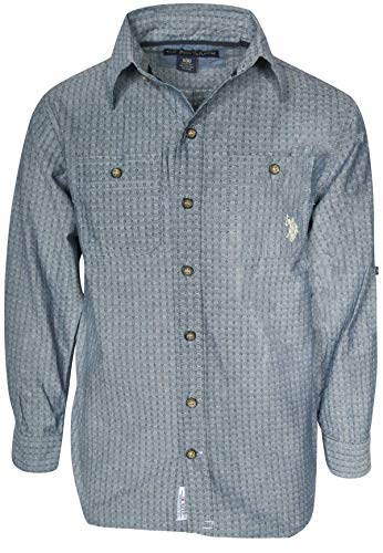 U.S. Polo Assn. Boys Long Sleeve Woven Button Down Shirt, Blue Stripes, Size 10/12'