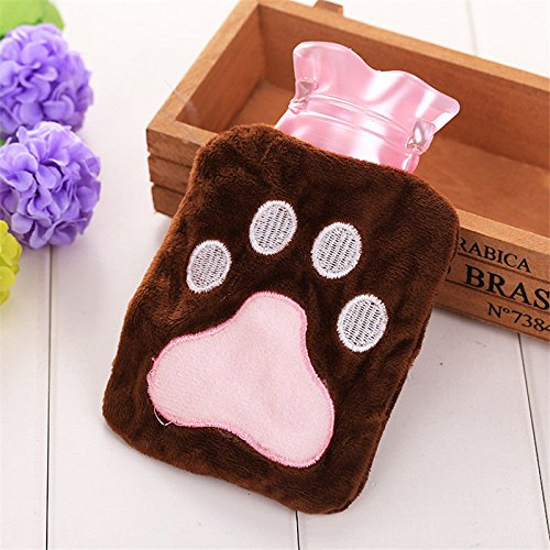 Cute Plush Cartoon Thick Hot Water Bottle Bag Warm Relaxing Heat Cold Therapy Bear's Paw