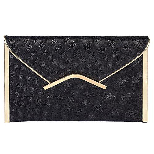Jubileens Women Glitter Sequins Handbag Party Evening Envelope Clutch Purse Wallet (Black 1)