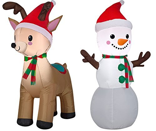 Airblown Inflatable 4ft Snowman & Reindeer
