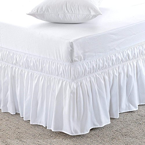 Lowest Price Wrap Around Bed Skirt -Polyester/Microfiber Elastic Dust Ruffle Three Fabric Sides Silky Soft 1PC Bed Skirt 12