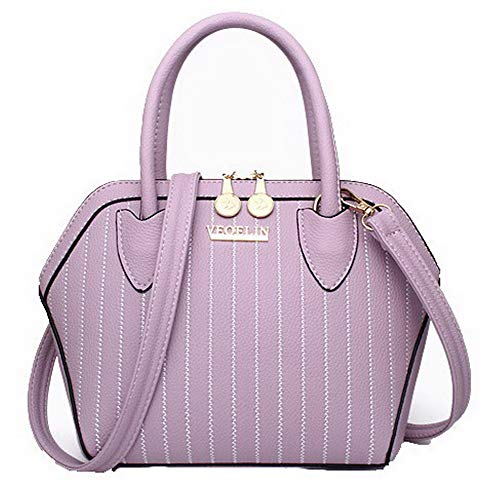 AllhqFashion Donna Dacron Tote-Style Vestito Moda Borse a tracolla, FBUIBC181821, Nero Viola