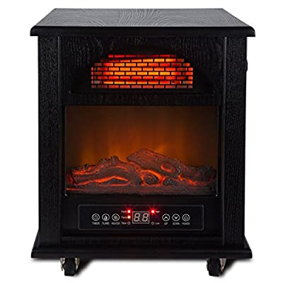 Free Standing 1500W Electric Fireplace Vintage Style Portable Fire Stove