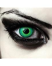 """Designlenses, twee groen gekleurde zombie halloween carnaval kostuum contact lenzen zonder dioptrieën, gratis lenshouder""""Green Elfe"""""""