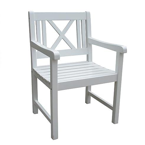 Gartenstühle  2 Armsessel Malmö aus Akazien-Holz weiß lackiert Gartenstühle ...