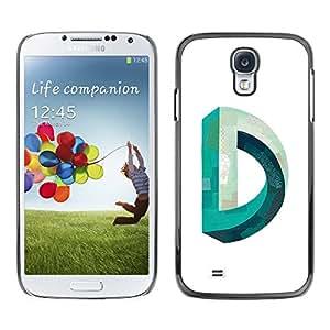 MobileHut / Samsung Galaxy S4 I9500 / D Mobius Impossible Teal White / Delgado Negro Plástico caso cubierta Shell Armor Funda Case Cover