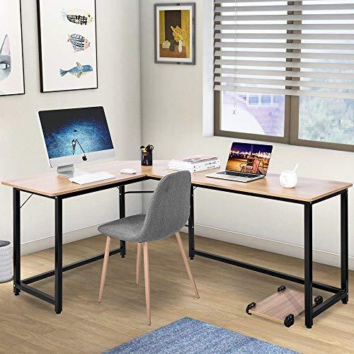 Prountet L-Shaped Desk Corner Computer Gaming Laptop Table Workstation Home Office Desk