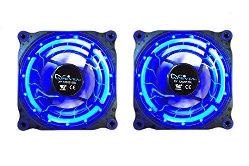 APEVIA 212L-DBL 120mm Silent Black Case Fan with 15 x Blue LEDs & 8 x Anti-Vibration Rubber Pads (2 Pk) - Best Value