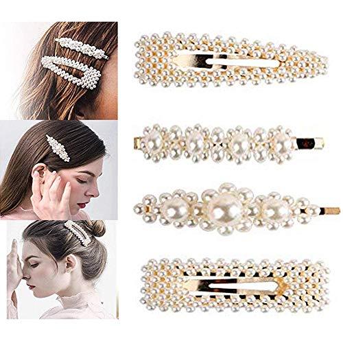Clips de pelo de perlas para mujeres y ninas – 4 lazos grandes/lazos para cumpleanos, San Valentin, dia de San Valentin, regalos Bling Hairpins Headwear Barrette herramientas de estilo accesorios