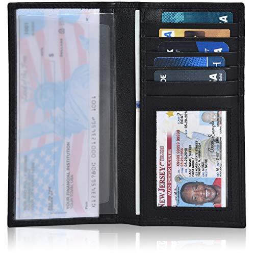Leather Checkbook Cover Holder for Women and men - Standard Register Duplicate Checks RFID Card Slim Mens Wallet (Black Nappa) ()