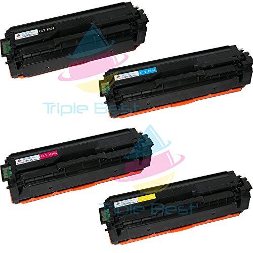 Triple Best (TM) 4 Pack Compatible 504 Black Cyan Magenta Yellow Laser Toner Cartridges for Samsung 504 CLT-K504S CLT-C504S CLT-M504S CLT-Y504S CLP-415NW 4195FW CLX-4195FN 4195FW SL-C1810W C1860FW (Toner For Samsung C1860fw)