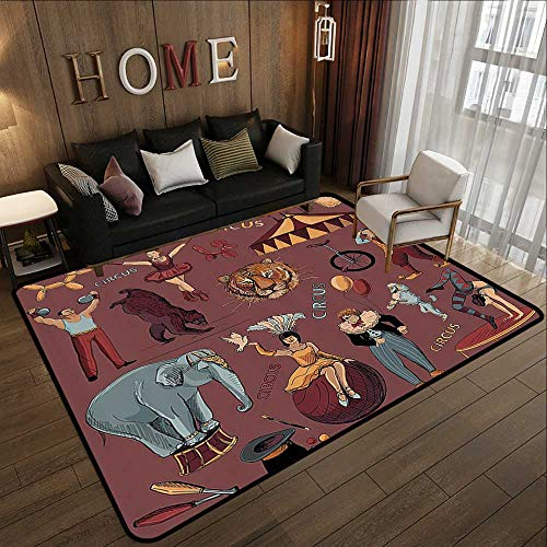 Bathroom mats and Rugs,Vintage,Retro Circus Print with Tent Tiger Head Balloons Dogs Art with Dark Coral Backdrop,Multicolor 59