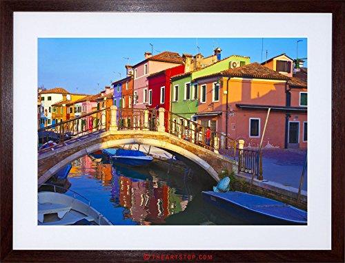 Venice Italy Photos - PHOTO CITYSCAPE VENICE ITALY BURANO BRIDGE CANAL FRAMED PRINT F97X5504