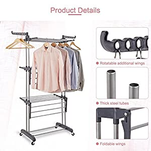Rackarster Collapsible Rolling Drying Rack,3-Tier Clothes Laundry Rack,Heavy Duty Clothes Hanging Rod Dryer with Upgraded Commercial Wheels, Gray