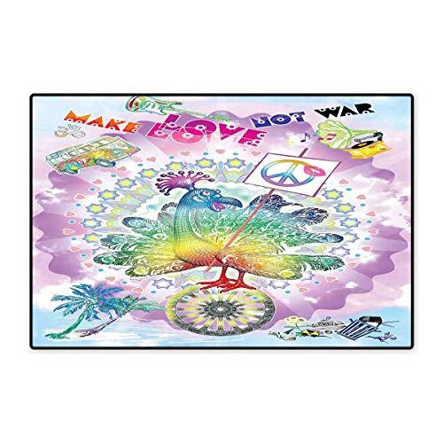 (Hippie Door Mat Small Rug Funny Peacock with Make Love Not War Quote Hippie Flower Children Peace Theme Bath Mat for Bathroom Mat 16