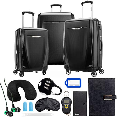 (Samsonite Winfield 3 DLX 3 Piece Set (Spinner 20/25/28), Black 120751-1041 with Deco Gear 10 Piece Luggage Accessory Ultimate Travel Bundle)