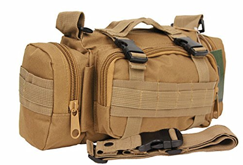 Rope Deployment Carry Bag (FIRECLUB TAN Deployment Waist Chest Pack Outdoor Military Duffle Tactical Assault Combined Backpack Rucksack Sport Molle Camping Trekking Messenger Crossbody single Shoulder Bag +6 Key Buckle)