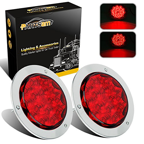 Partsam 2Pcs 4Inch Round Led Trailer Tail Lights Red 15 LED Flange Mount with Reflectors Trailer Truck Stop Turn Brake Tail Light + Stainless Steel Bezels Rings 12V Waterproof DOT Certified