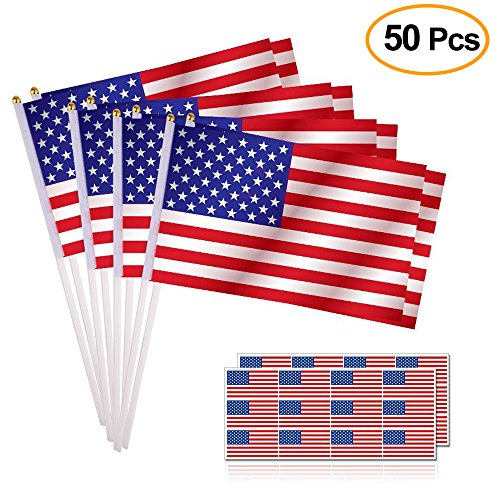 Hand American Flag Decal (Kuuqa 50PCS American Flags Hand Held Mini US Stick Flags and 24PCS American Flag Stickers Patriotic Sticker for 4th of July Decoration and Patriotic Events)