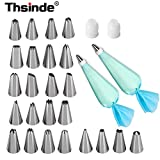 Thsinde Cake Decoration Tips with 2 Reusable Silicone Icing Bag, 2 Coupler (28-Pieces)