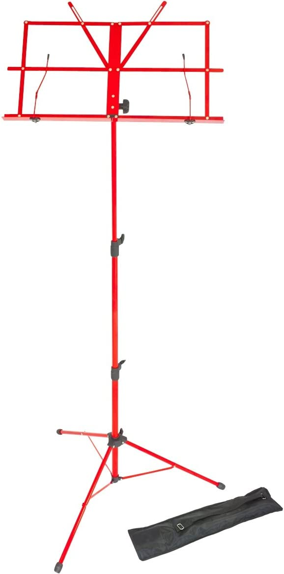 Lawrence LMS02-RD - Atril (plegable, regulable, metal, con funda), color rojo
