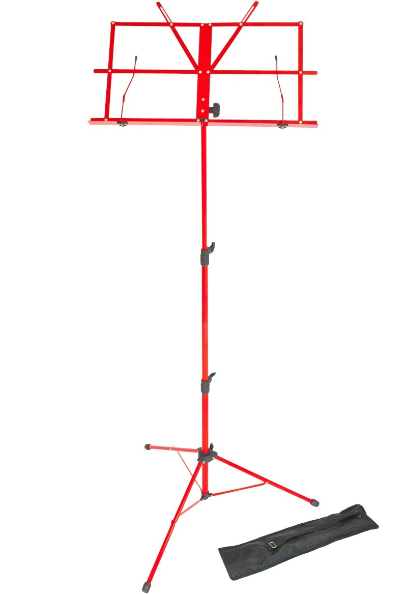 Opus LMS02-RD Lightweight Folding Music Stand Supplied with Carrying Bag, Red