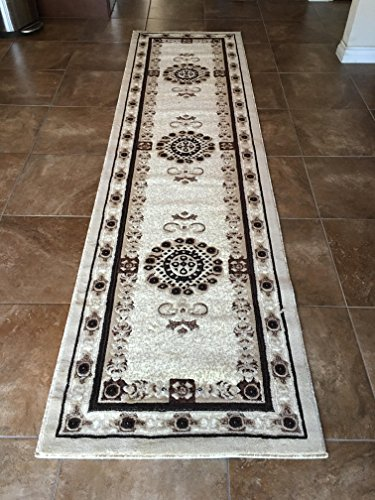 Traditional Long Persian Runner Area Rug Ivory Design 121 Americana (32 Inches X10 Feet) - Black Persian Carpet