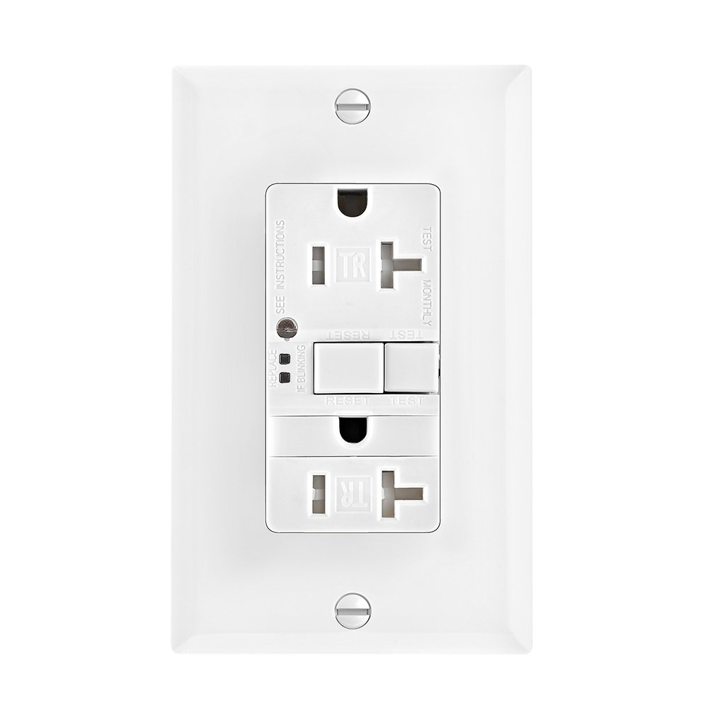 Eaton GFCI Self-Test 20A White 125V Tamper Resistant Duplex Receptacle with Nightlight /& Standard Size Wallplate