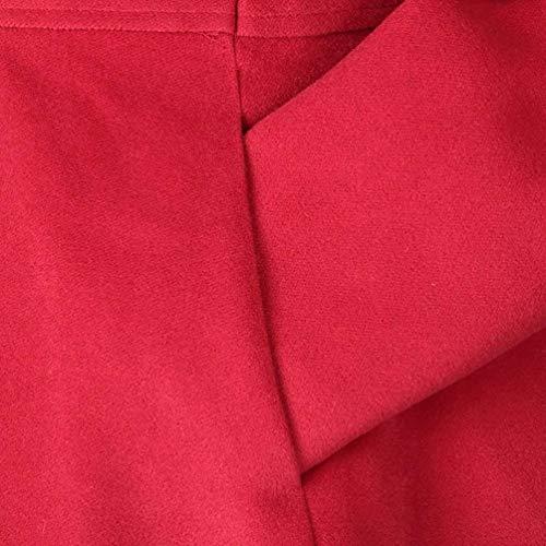 Moda Manga Otoño Abrigos Sólido Chic Outwear De Casuales Mujer Splice Slim Fit Invierno Rot Largas Elegantes Transición Gabardina Botonadura Doble Largo Retro Color Caliente Abrigo PYYExqX