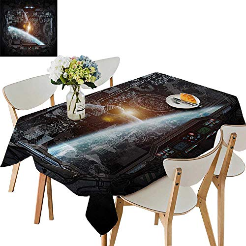 (UHOO2018 Square/Rectangle Polyester Tablecloths Ctrol Panel of Cockpit Screen in Spaceflight Androids World Stardust Fuitable for Home use,50 x102inch)
