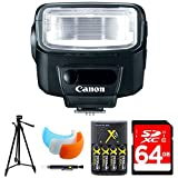 Canon Speedlite 270EX II Flash for Canon SLR Cameras (5247B002) w/ 64GB Bundle Includes, 64GB Memory Card, AA Charger w/ 4 Batteries, Tripod, Cleaning Pen & Flash Diffuser Soft Flash Cover