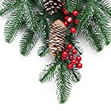 Develoo Christmas Teardrop Wreath, Artificial Front Door Swags w/Berries & Pine Cones & Ribbon Bow for Holiday Home Wall Decor