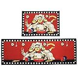 KEPSWET Red Cartoon Pattern Home Rug Runner Vintage 2-Piece Kitchen Rug Sets Non-slip Carpet Mat Decoration Floor Pad Set of 2 Fashion Door Mats (2-Piece Set, B)