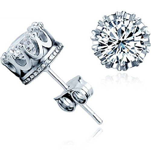 Winter's Secret 18K Fashion Silver Plated Crown Shape Diamond Accented Lover Stud Earring (Magnetic Spigot Key compare prices)