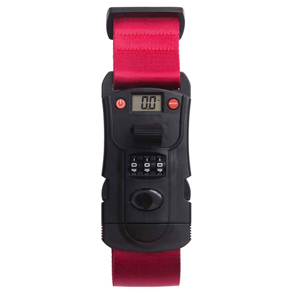 NaSaDen Luggage Strap with combination lock & Luggage Scale 3 in 1 Travel Accessories -Red