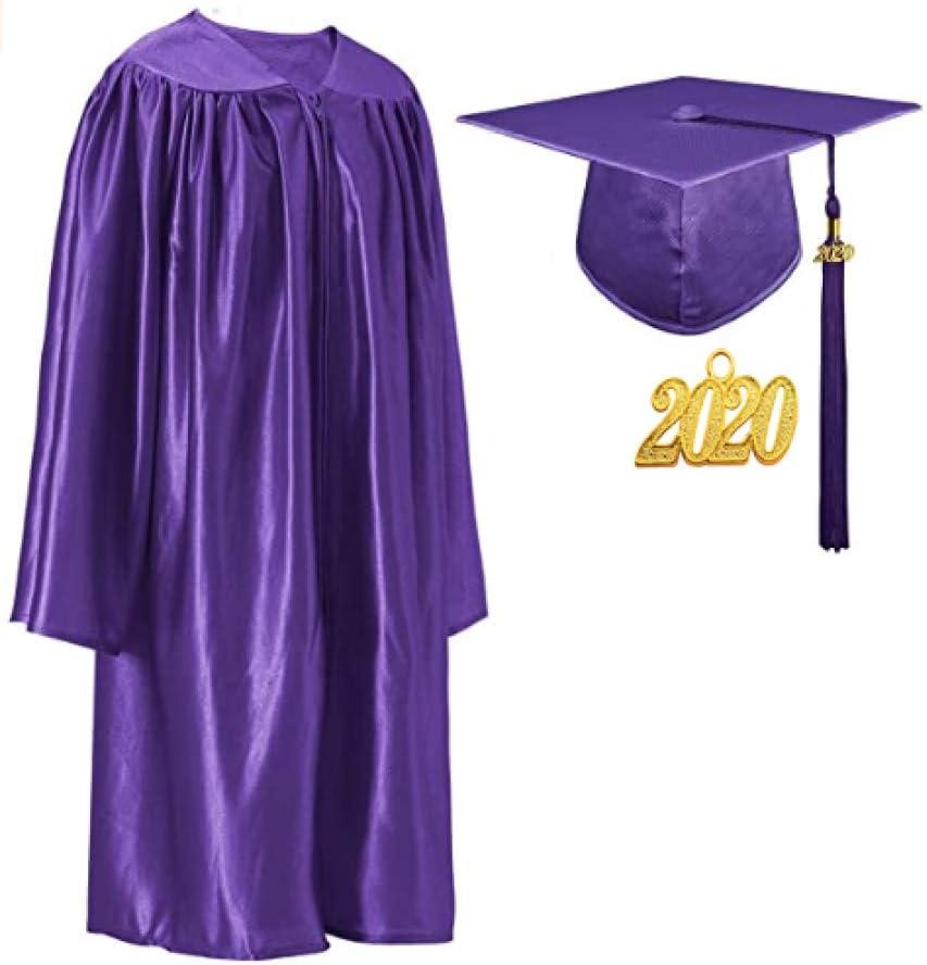 Toga De Graduación Y Birrete Con 2020 Sello Del Año Para Niños Y Estudiantes,Purple-30(115-122)