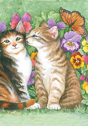 Kissing Cat (Toland Home Garden Kissing Kitties 12.5 x 18 Inch Decorative Spring Summer Pansy Flower Kitty Cat Butterfly Garden Flag)