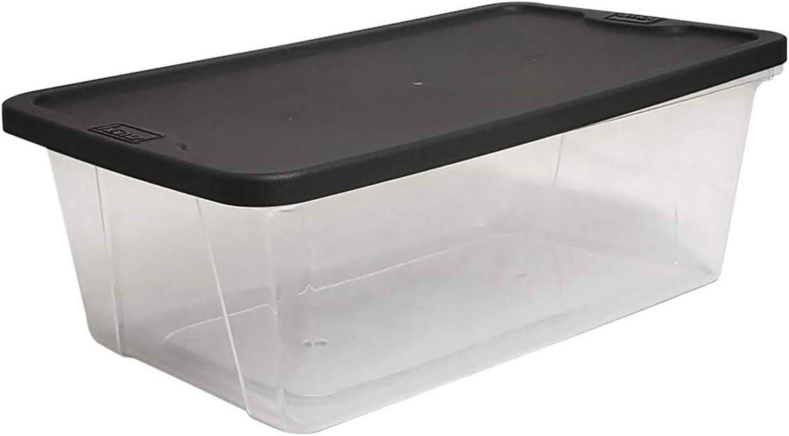 Homz Snaplock Clear Storage Bin with Lid, X Small - 6 Quart, Grey, 10 Pack
