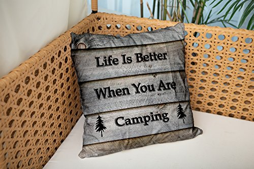 Shorping Zippered Pillow Covers Pillowcases 18X18 Inch camper life is better when you are camping round Decorative Throw Pillow Cover,Pillow Cases Cushion Cover for Home Sofa Bedding