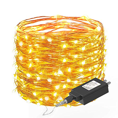 Fairy String Lights 33ft with 100 LEDs,Ruyilam Christmas Lights Waterproof Outdoor & Indoor Decorative Lights for Bedroom, Garden, Patio, Parties, UL Power Supply Copper Wire Lights, Warm White