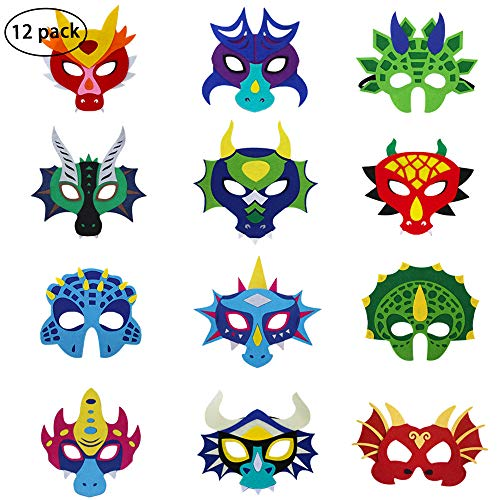 iROLEWIN Kids Felt Dragon Masks for Boys Girls Dinosaur Party Dress Up Costume,12 Pak]()